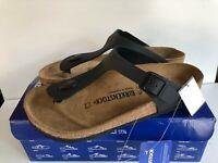 Birkenstock Gizeh Black Womens Leather Birko-Flor Thong Sandal Shoe choose size
