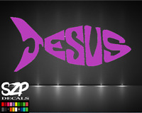 Jesus Fish Decal Vinyl Sticker Cool, Jesus Bible Christian Choose Size and Color