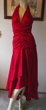 Morgan & Co red satin halter evening wedding formal cocktail dress XS