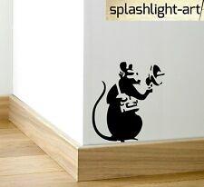 Banksy (S) SPY Ratto Battiscopa Adesivo Vinile Piemonte Nero Piccolo Muro battiscopa