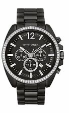 Wittnauer Men's WN3028 Quartz Chronograph Crystal Accents Black 44mm Watch