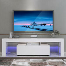White Modern TV Stand Matt Cabinet Unit 130CM Width  High Gloss Door  LED Light