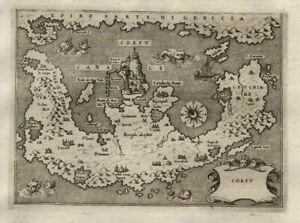 Corfu Korfu island Greece Griechenland map Karte Porcacchi Kupferstich 1572