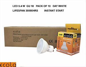 10 X ECOLA GU10  5.4 W LED High quality  Reflectors  Light Bulb  DAY WHITE