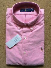Ralph Lauren Men's Solid Oxford Pink Long Sleeve Button-Down Shirt, Size Medium.