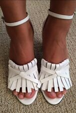 BRAND NEW No. 21 white leather tassel sandals 3 inch heel size IT39.5/US 9.5