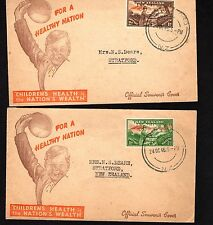 New Zealand 1946 Health FDC-on Official Childrens Health, Nations Wealth Covers
