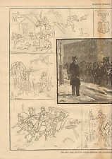 Horse, New York, Mounted Police, Service & Adventure. w/Text, 1882 Antique Print