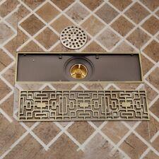 Bathroom Kitchen Antique Brass Shower linear Long Shower Waste Floor Drain