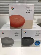 LOT OF 3 GOOGLE HOME MINI - Smart Small Speaker -CHARCOAL- CORAL- CHALK NEW