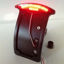 Curve License Plate Led Tail Brake Light For Side Mounted Verticle Black