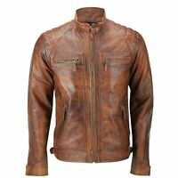 Mens Bomber Zipped Jacket Real Leather Soft Tan Brown Casual