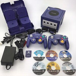 Nintendo GameCube Indigo Purple System Bundle w/ Controllers + 6 Games Tested