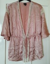 Kate Moss Topshop Pink Peach Silky Short Dressing Gown Robe Kimono Size 8, Small