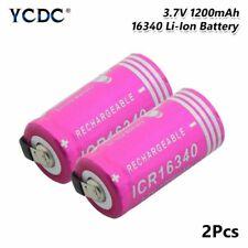 2pcs 3.7V 1200mAh Li-ion CR123A 16340 Battery Rechargeable For Laser Pen Torch