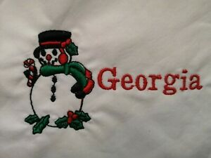 """personalised embroidered napkins 100% cotton 16"""" gift present any name Christmas"""