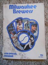 Old Vintage 1978 Official Program Milwaukee Brewers Baltimore Orioles Baseball