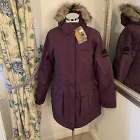 Regatta UK 16 purple fur trim hood Schima fleece lined walking country jacket J1