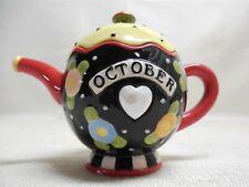 Vintage October Mary Engelbreit Mini Porcelain Tea Pot 2004 Enesco