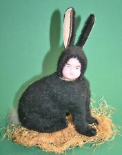 unusual antique german composition wax face easter bunny candy container