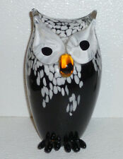 Murano Art Glass Owl Black White Figurine Vtg Hand Blown 8.25""