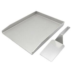 MaTaDa® Edelstahl Grillplatte I Plancha 30 x 40 cm für Gas- und Kohlegrills