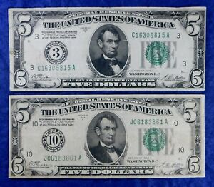 1928-A $5 Gold Demand Federal Reserve Currency Banknotes - 2 Examples