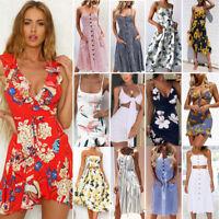 Womens Holiday Flower Sleeveless Ladies Maxi Long Summer Print Beach Dress Lot