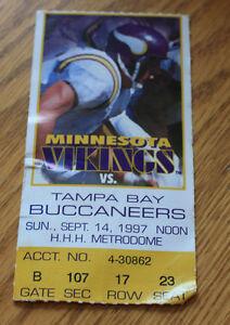 Minnesota Vikings Ticket Stub - September 14 1997 - Cris Carter 79th Career TD