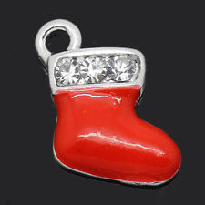 2 Silver Enamel and Rhinestones RED STOCKING Christmas Charms Pendants che0206