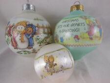 Hallmark Betsey Clark 2 Glass Ball plus 1 small Satin Christmas Ornaments Nice!