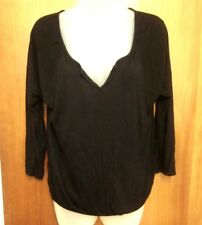 OLD NAVY plunging tee 3/4 sleeves XS sexy rayon T shirt sweetheart neckline blk