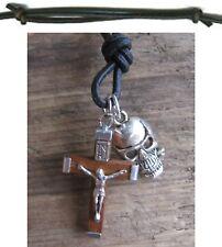 Collar Jesus NEGRO COLLAR CUERO Surf Estilo Collar Calavera Rosa NUEVO Cruz