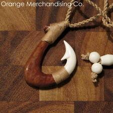 Hawaiian Fish Hook Buffalo Bone & Koa Wood Necklace Maori Hei Matau Pendant A5