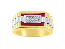 Mens Diamond & Onyx Ring set in Yellow Gold Plated Silver.  Red Onyx / Agate / Q