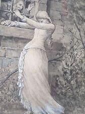 César GEERINCK 1862-1919-Belgique-Dessin ancien-lavis-orignal-XIXe-femme-drawing