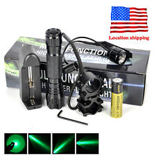 501B Green Light LED Tactical Hunting Flashlight Scope Mount Remote Switch 18650