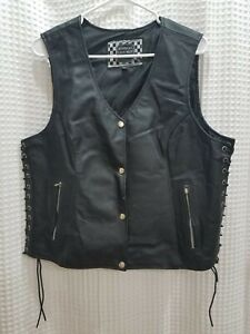 Highway Leather Black Motorcycle Vest Lace Up Sides Size XL Snap Closure