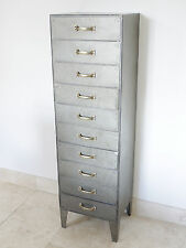 10 Drawer Chest Of Drawers Tall Boy Industrial Vintage Metal Storage Cabinet New