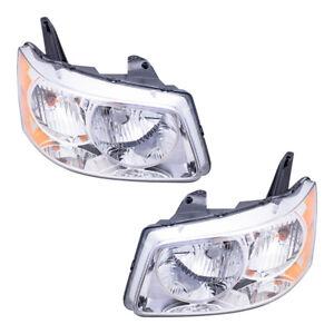 Pair Set Headlights Headlamps w/ Housing Assembly for 2006-2009 Pontiac Torrent
