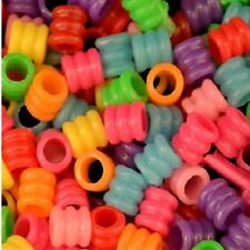 200 Pieces 1/4'' Small Plastic Rippled Spacer Beads 1/4'' Hole Bird Toys Parts