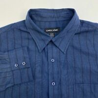 Linea Dome Button Up Dress Shirt Men's Size 2XL Long Sleeve Black Blue Striped