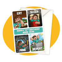 Steve Eat Sleep Mine Repeat PERSONALISED BIRTHDAY CARD - Minecraft personalized