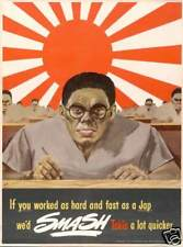 Smash Tokio WW2 US japan propaganda art poster print SKU3644