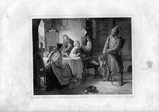 Stampa antica IL RITORNO DEL SOLDATO la famiglia felice 1852 Old Print Engraving