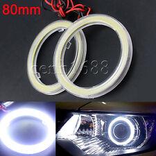 2x 80mm 40smd COB Angel Eye Fog Light Lamp Halo Ring HeadLight + Plastic Cover
