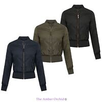 Brave Soul Classic Ma1 Bomber Jacket Ladies Womens Padded Vintage Zip Up Biker