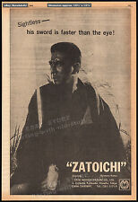 ZATOICHI__Original 1964 Trade AD / poster__SHINTARO KATSU__Adventures of__sword