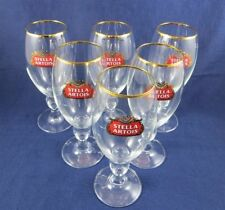 """NEW "" Set of 6--Stella-Artois-40-CL-Gold-Rim-Chalice-Beer-Glass-Anniversary-"