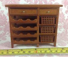 Dollhouse Miniature Furniture Wood Brown Drawers Shelf Wine Cabinet 1:12